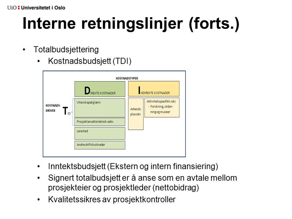 Interne retningslinjer (forts.) Totalbudsjettering Kostnadsbudsjett (TDI) Inntektsbudsjett (Ekstern og intern finansiering) Signert totalbudsjett er å