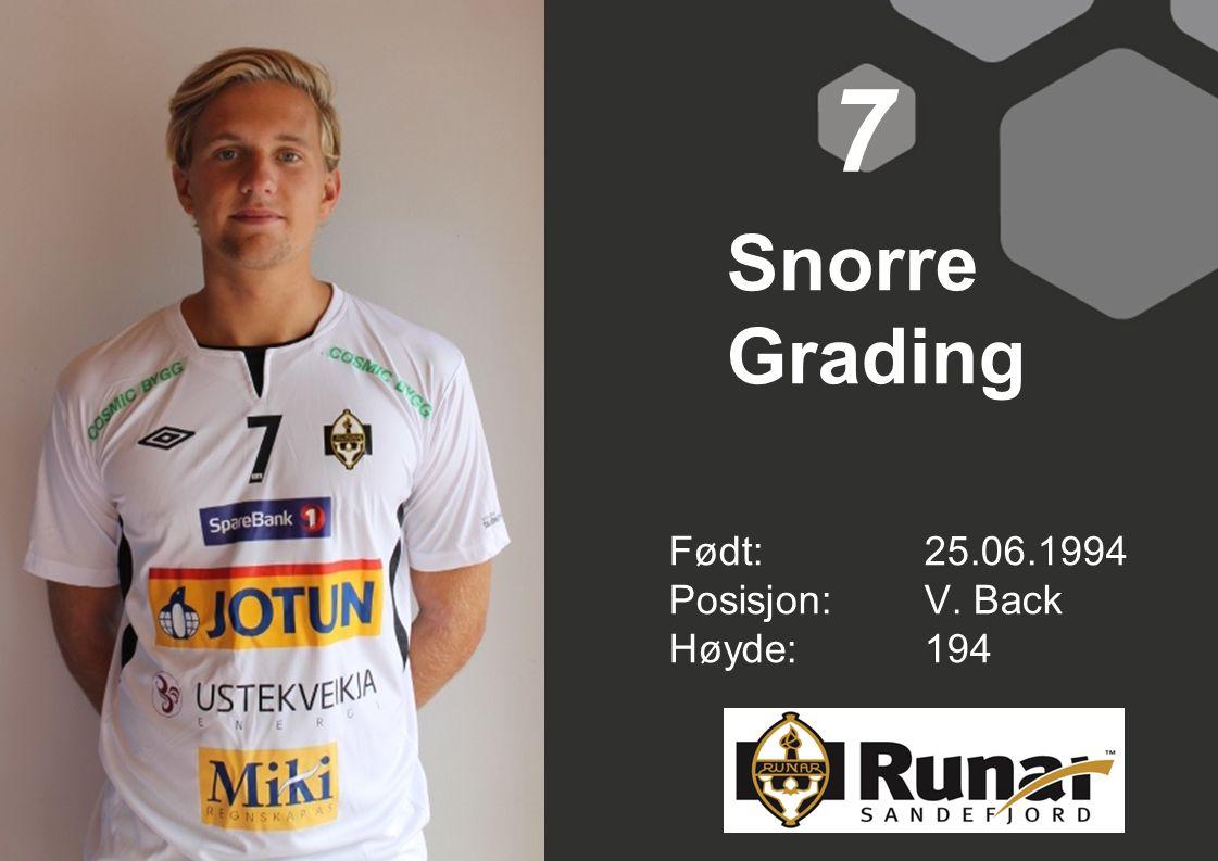 Snorre Grading Født: 25.06.1994 Posisjon:V. Back Høyde:194 7