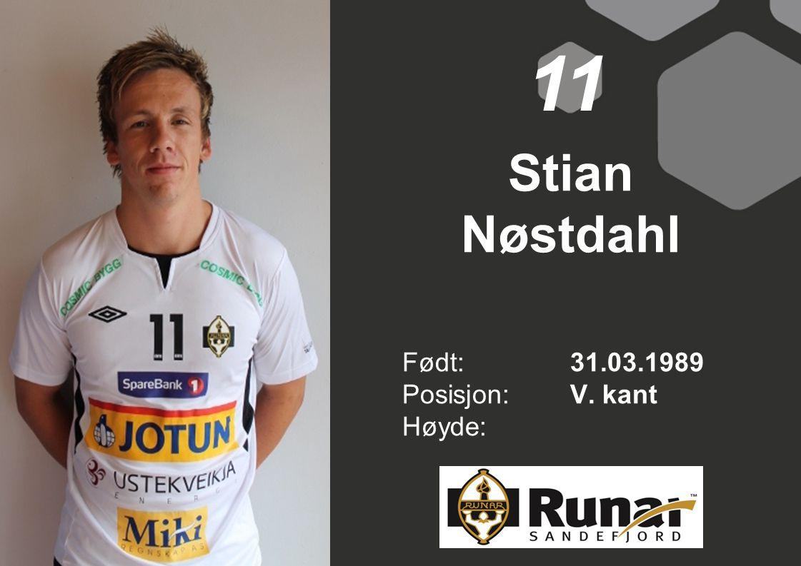 Stian Nøstdahl Født: 31.03.1989 Posisjon:V. kant Høyde: 11