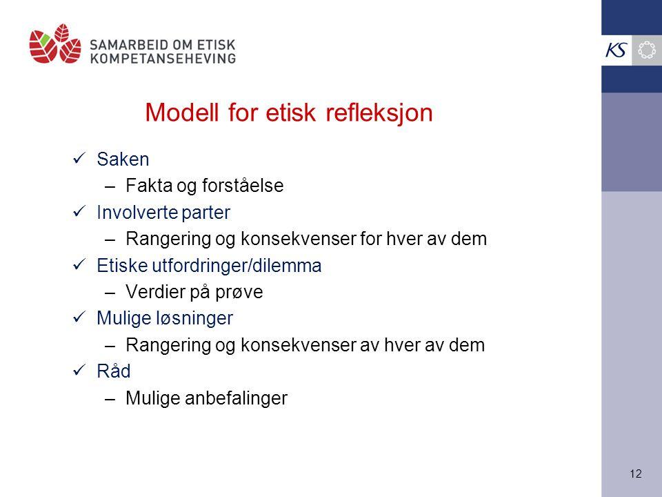 12 Modell for etisk refleksjon Saken –Fakta og forståelse Involverte parter –Rangering og konsekvenser for hver av dem Etiske utfordringer/dilemma –Ve