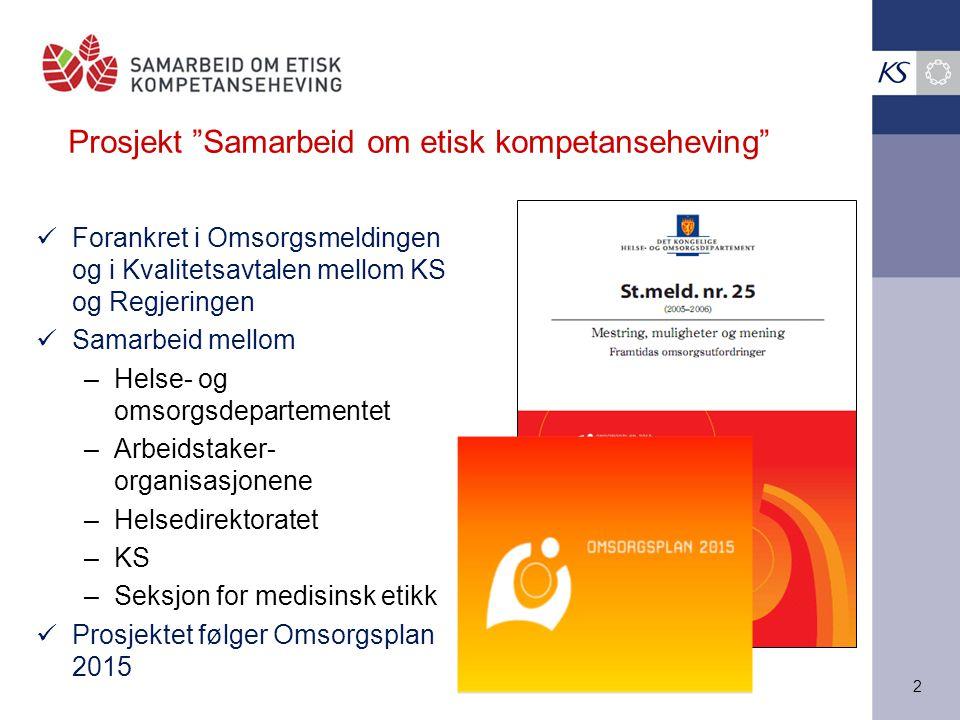 """2 Prosjekt """"Samarbeid om etisk kompetanseheving"""" Forankret i Omsorgsmeldingen og i Kvalitetsavtalen mellom KS og Regjeringen Samarbeid mellom –Helse-"""