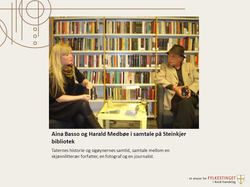 Aina Basso og Harald Medbøe i samtale på Steinkjer bibliotek Taternes historie og sigøynernes samtid, samtale mellom en skjønnlitterær forfatter, en fotograf og en journalist.