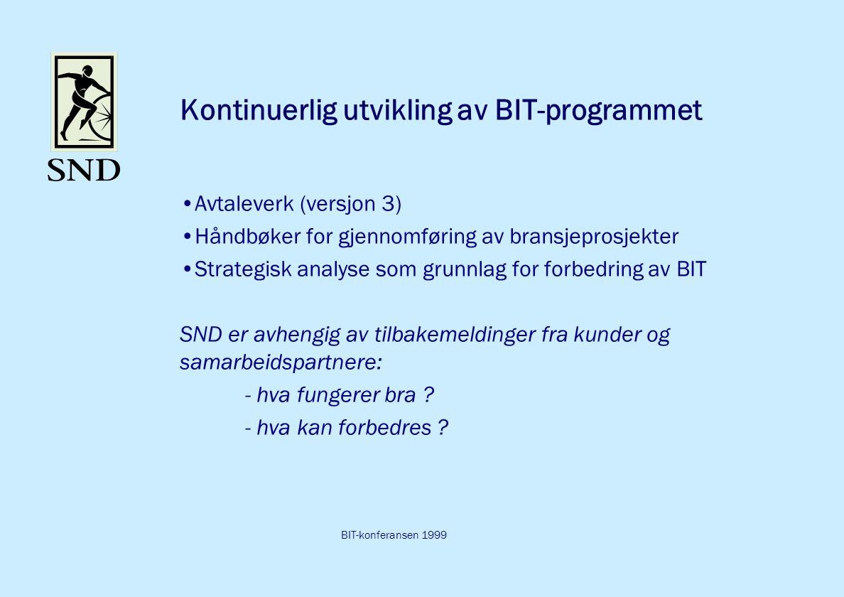 BIT-konferansen 1999 Kontinuerlig utvikling av BIT-programmet Avtaleverk (versjon 3) Håndbøker for gjennomføring av bransjeprosjekter Strategisk analyse som grunnlag for forbedring av BIT SND er avhengig av tilbakemeldinger fra kunder og samarbeidspartnere: - hva fungerer bra .
