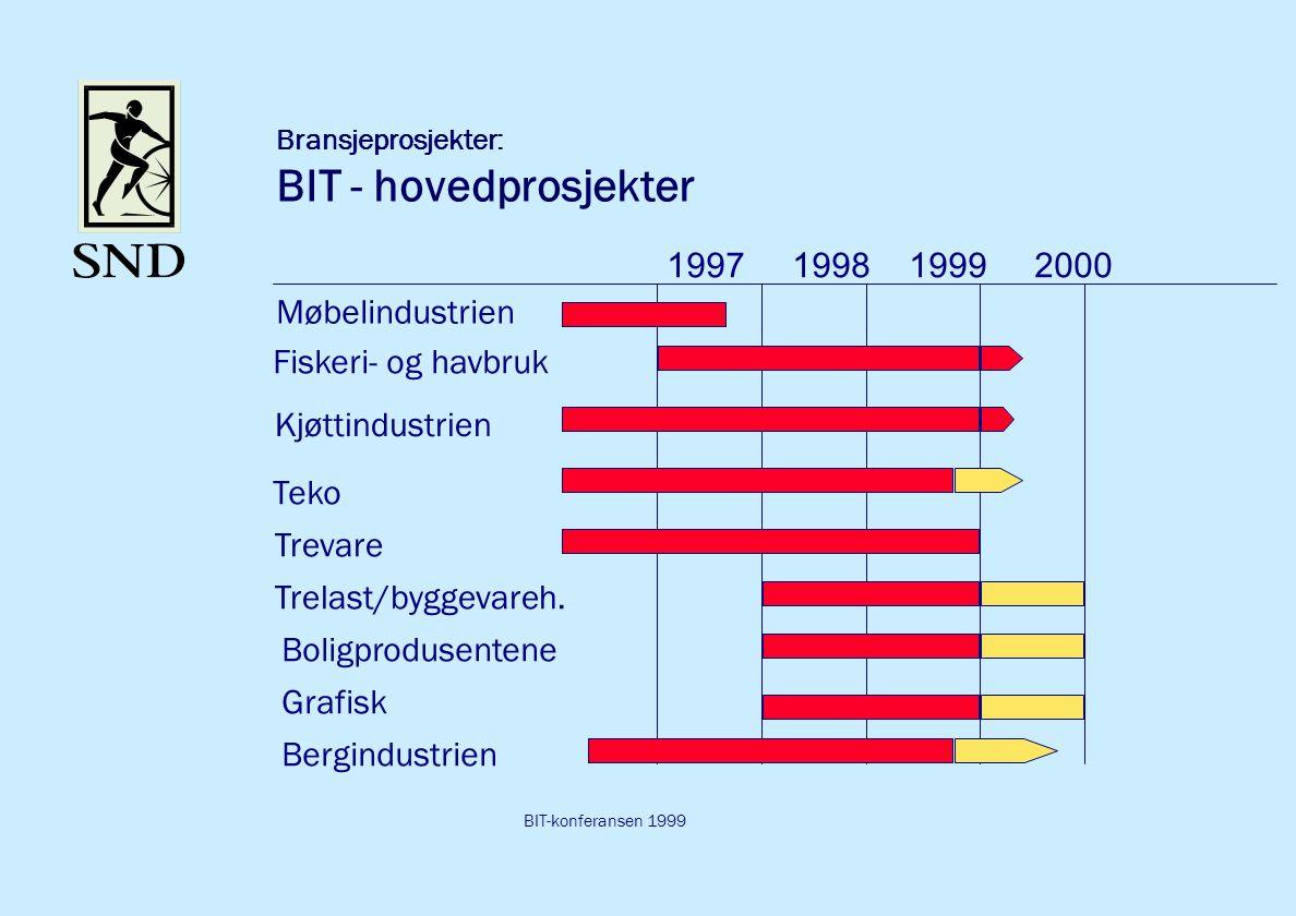 BIT-konferansen 1999 Bransjeprosjekter: BIT - hovedprosjekter Møbelindustrien 1997 1998 1999 2000 Fiskeri- og havbruk Kjøttindustrien Teko Trevare Trelast/byggevareh.