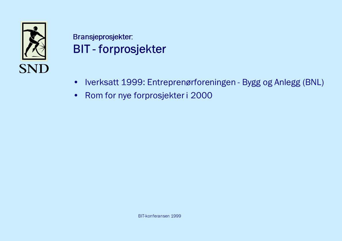 BIT-konferansen 1999 Bransjeprosjekter: BIT - forprosjekter Iverksatt 1999: Entreprenørforeningen - Bygg og Anlegg (BNL) Rom for nye forprosjekter i 2000