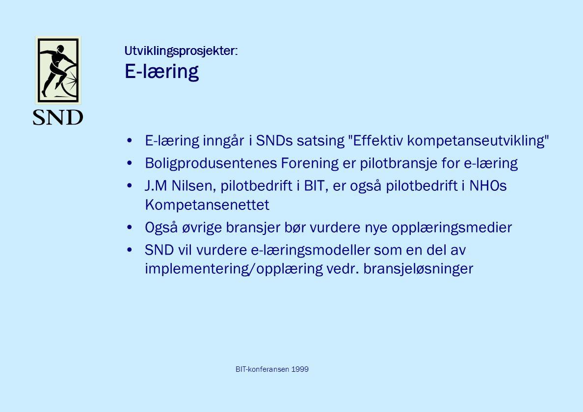 BIT-konferansen 1999 Utviklingsprosjekter: E-læring E-læring inngår i SNDs satsing Effektiv kompetanseutvikling Boligprodusentenes Forening er pilotbransje for e-læring J.M Nilsen, pilotbedrift i BIT, er også pilotbedrift i NHOs Kompetansenettet Også øvrige bransjer bør vurdere nye opplæringsmedier SND vil vurdere e-læringsmodeller som en del av implementering/opplæring vedr.
