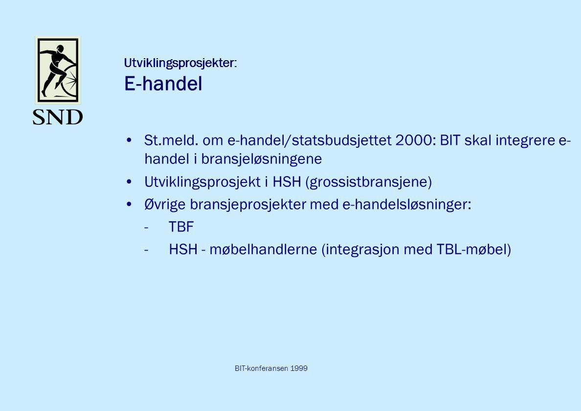 BIT-konferansen 1999 Utviklingsprosjekter: E-handel St.meld.