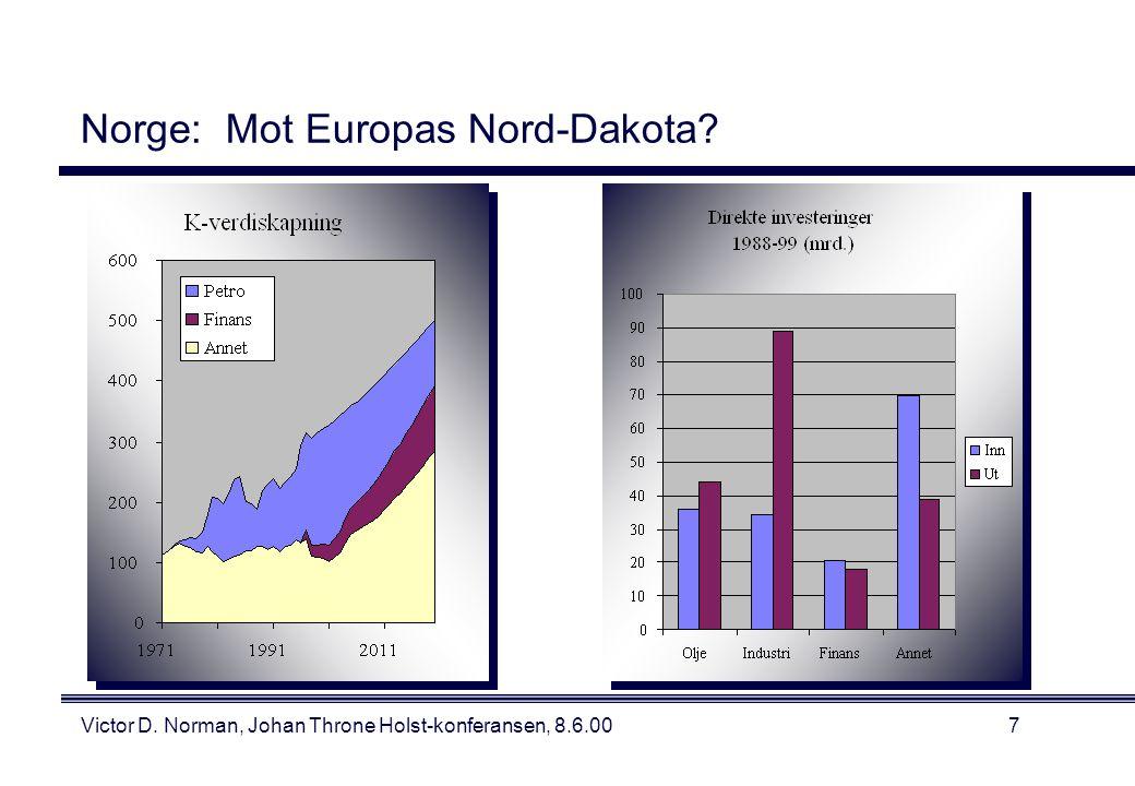 Victor D. Norman, Johan Throne Holst-konferansen, 8.6.007 Norge: Mot Europas Nord-Dakota