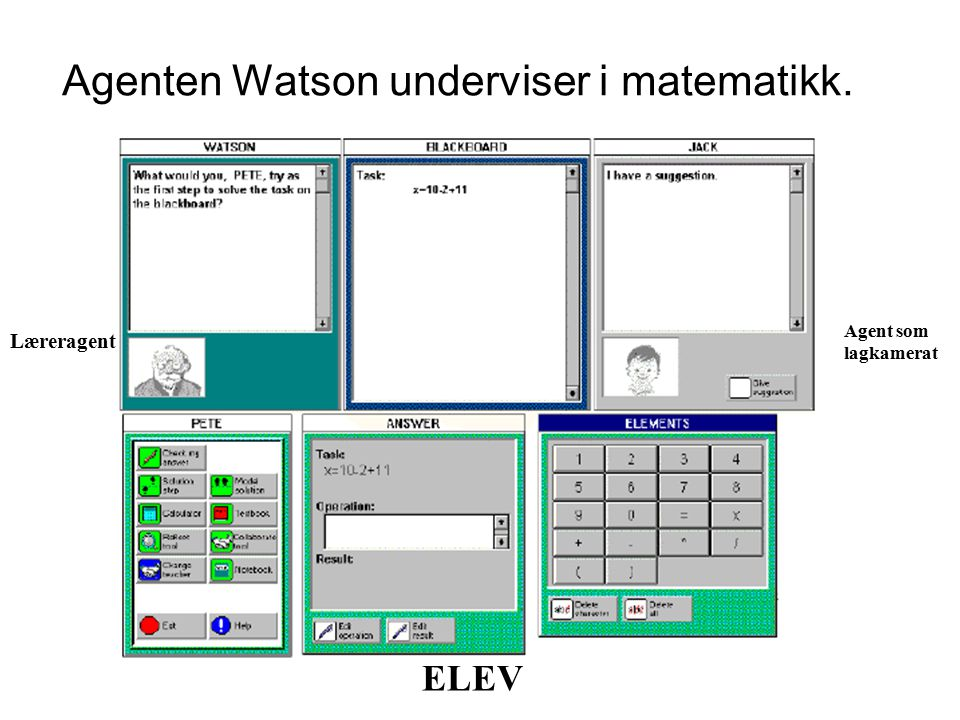 Agenten Watson underviser i matematikk. ELEV Læreragent Agent som lagkamerat
