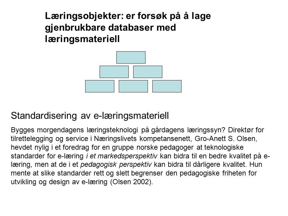 Læringsobjekter: er forsøk på å lage gjenbrukbare databaser med læringsmateriell Standardisering av e-læringsmateriell Bygges morgendagens læringstekn