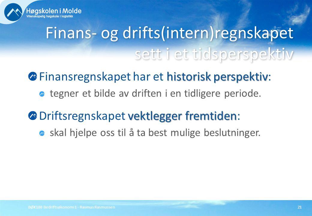 BØK100 Bedriftsøkonomi 1 - Rasmus Rasmussen21 historisk perspektiv Finansregnskapet har et historisk perspektiv: tegner et bilde av driften i en tidli