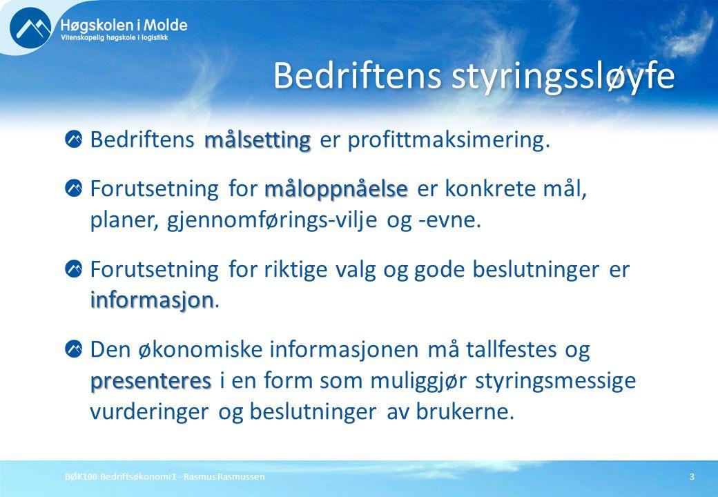 BØK100 Bedriftsøkonomi 1 - Rasmus Rasmussen3 målsetting Bedriftens målsetting er profittmaksimering. måloppnåelse Forutsetning for måloppnåelse er kon