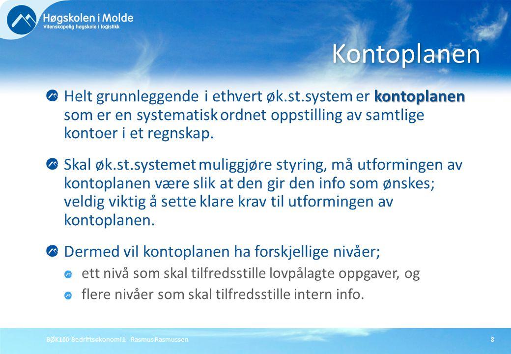 BØK100 Bedriftsøkonomi 1 - Rasmus Rasmussen8 kontoplanen Helt grunnleggende i ethvert øk.st.system er kontoplanen som er en systematisk ordnet oppstil