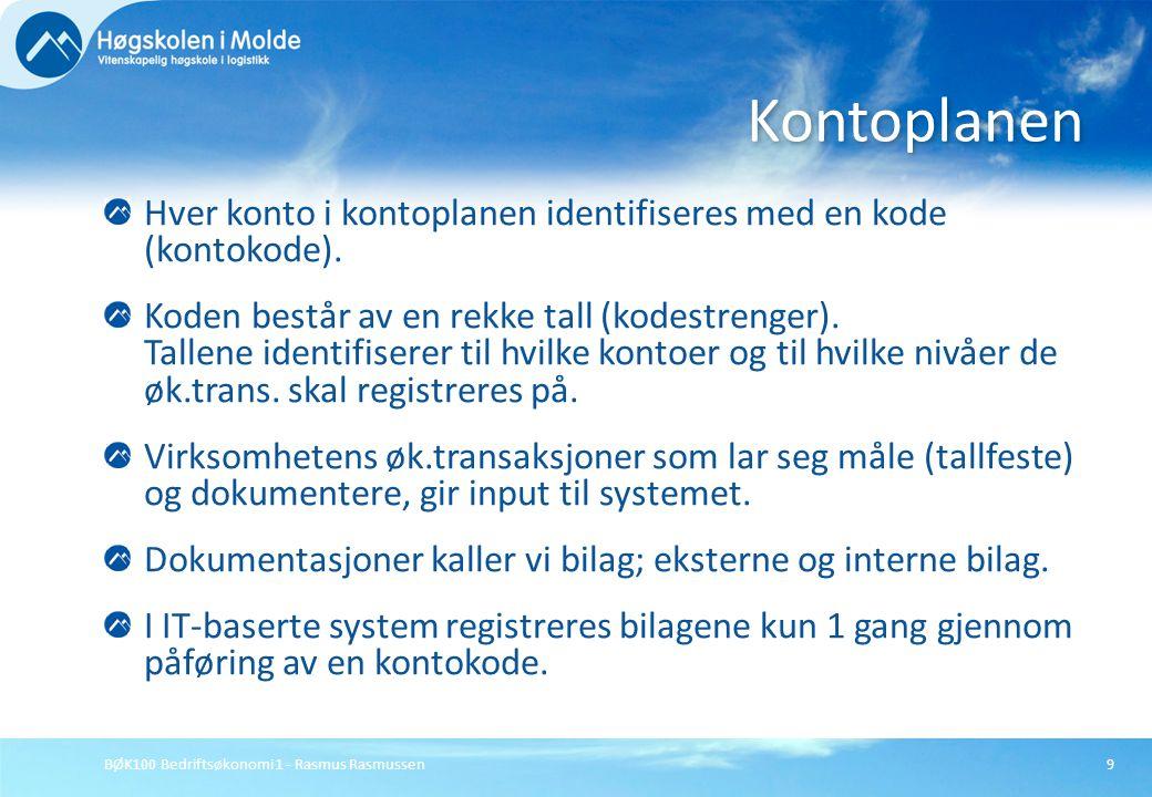 BØK100 Bedriftsøkonomi 1 - Rasmus Rasmussen9 Hver konto i kontoplanen identifiseres med en kode (kontokode). Koden består av en rekke tall (kodestreng
