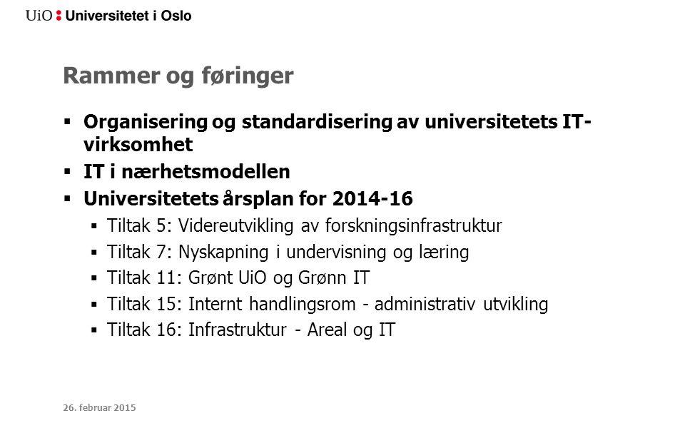 Rammer og føringer  Organisering og standardisering av universitetets IT- virksomhet  IT i nærhetsmodellen  Universitetets årsplan for 2014-16  Ti