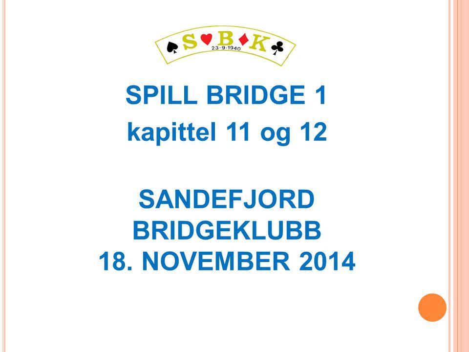 SPILL BRIDGE 1 kapittel 11 og 12 SANDEFJORD BRIDGEKLUBB 18. NOVEMBER 2014