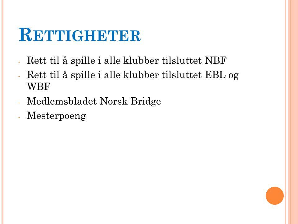 R ETTIGHETER - Rett til å spille i alle klubber tilsluttet NBF - Rett til å spille i alle klubber tilsluttet EBL og WBF - Medlemsbladet Norsk Bridge - Mesterpoeng