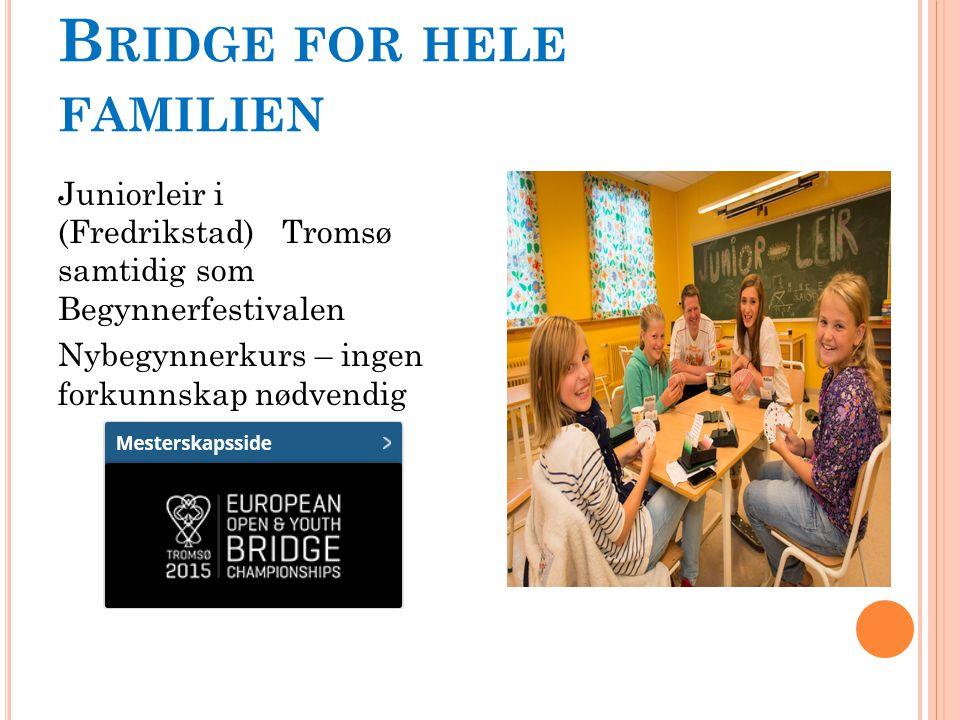 B RIDGE FOR HELE FAMILIEN Juniorleir i (Fredrikstad) Tromsø samtidig som Begynnerfestivalen Nybegynnerkurs – ingen forkunnskap nødvendig