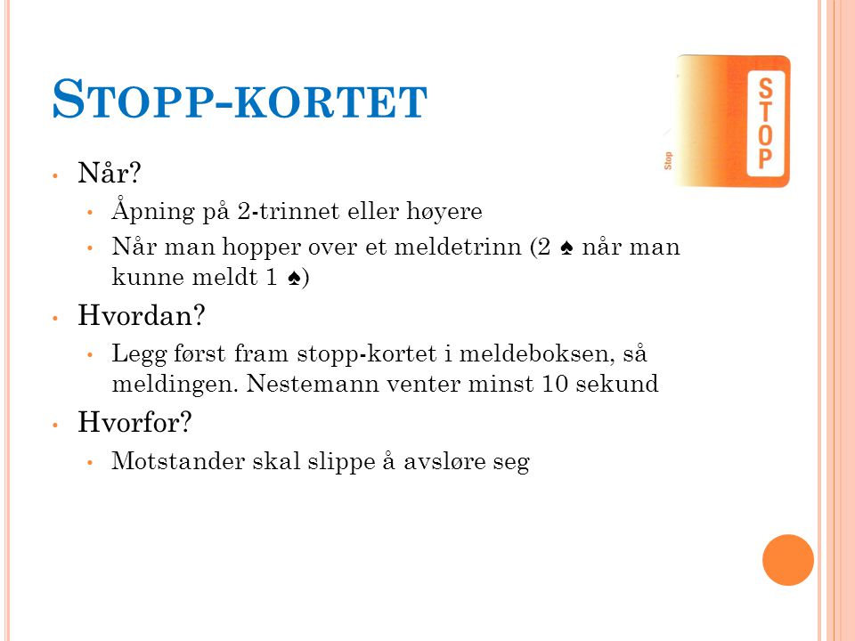 S TOPP - KORTET Når.