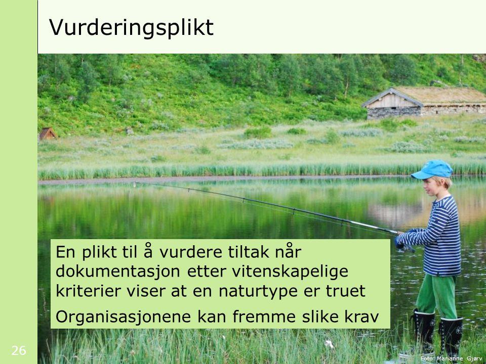 26 Vurderingsplikt Foto: Marianne Gjørv En plikt til å vurdere tiltak når dokumentasjon etter vitenskapelige kriterier viser at en naturtype er truet Organisasjonene kan fremme slike krav