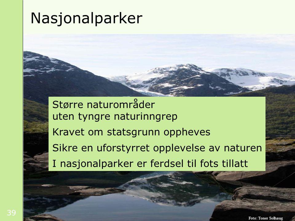 39 Nasjonalparker Større naturområder uten tyngre naturinngrep Kravet om statsgrunn oppheves Sikre en uforstyrret opplevelse av naturen I nasjonalparker er ferdsel til fots tillatt Foto: Toner Solhaug