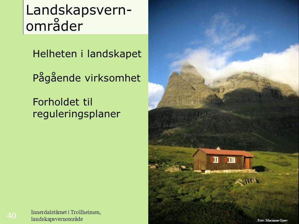 40 Landskapsvern- områder Helheten i landskapet Pågående virksomhet Forholdet til reguleringsplaner Innerdalstårnet i Trollheimen, landskapsvernområde Foto: Marianne Gjørv