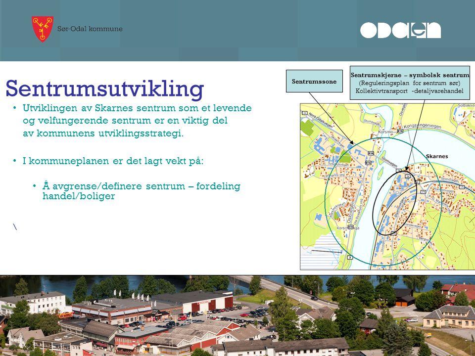 Sentrumsutvikling Utviklingen av Skarnes sentrum som et levende og velfungerende sentrum er en viktig del av kommunens utviklingsstrategi. I kommunepl