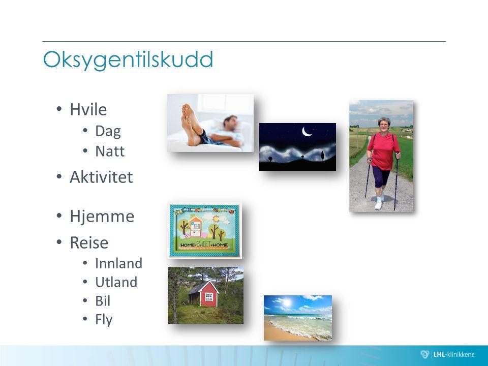 Oksygentilskudd Hvile Dag Natt Aktivitet Hjemme Reise Innland Utland Bil Fly