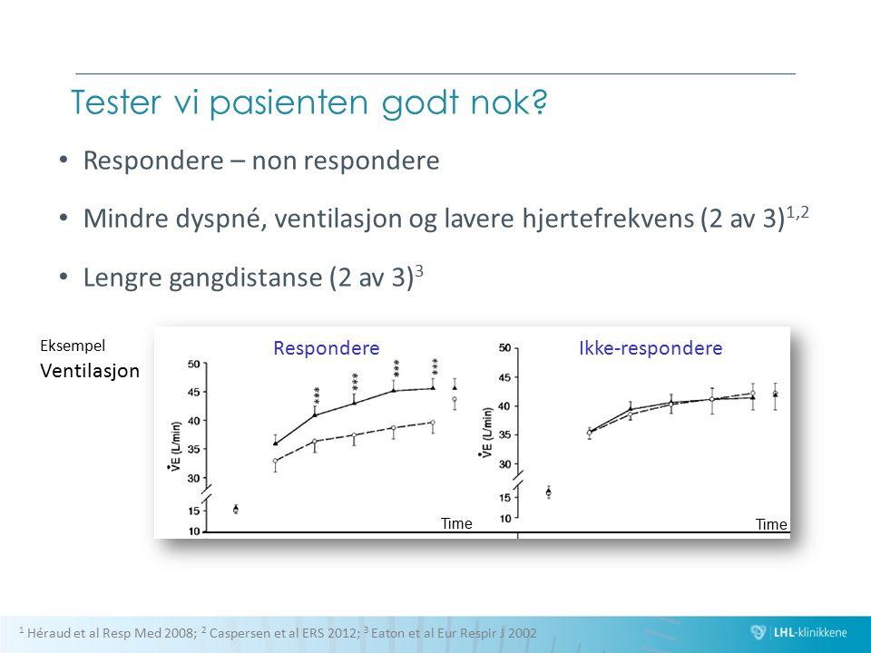 Tester vi pasienten godt nok? Respondere – non respondere Mindre dyspné, ventilasjon og lavere hjertefrekvens (2 av 3) 1,2 Lengre gangdistanse (2 av 3