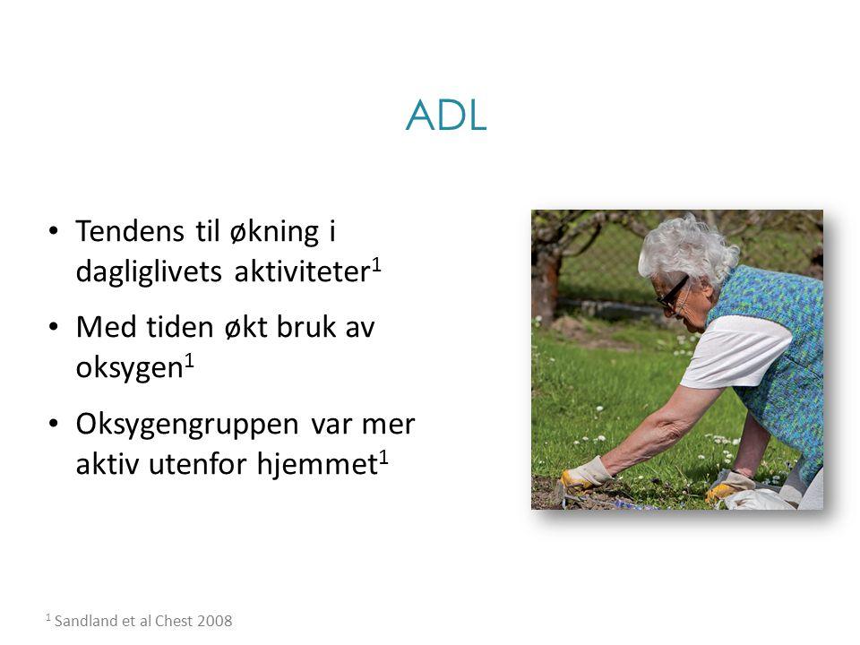 ADL Tendens til økning i dagliglivets aktiviteter 1 Med tiden økt bruk av oksygen 1 Oksygengruppen var mer aktiv utenfor hjemmet 1 1 Sandland et al Ch