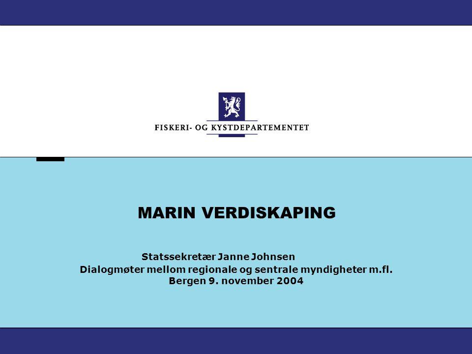 MARIN VERDISKAPING Statssekretær Janne Johnsen Dialogmøter mellom regionale og sentrale myndigheter m.fl. Bergen 9. november 2004