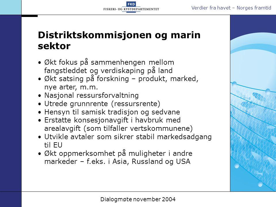 Verdier fra havet – Norges framtid Dialogmøte november 2004 Økt fokus på sammenhengen mellom fangstleddet og verdiskaping på land Økt satsing på forsk