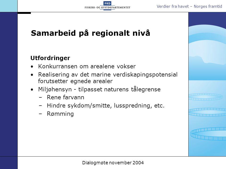 Verdier fra havet – Norges framtid Dialogmøte november 2004 Samarbeid på regionalt nivå Utfordringer Konkurransen om arealene vokser Realisering av de