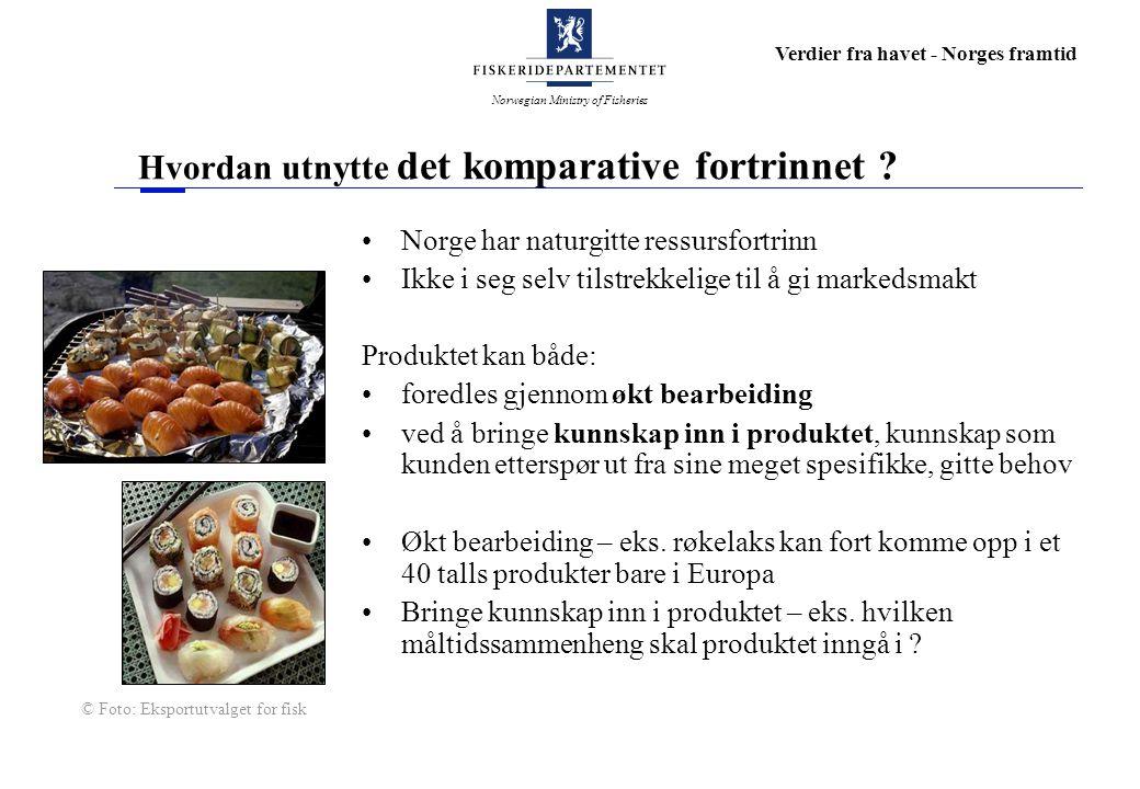Norwegian Ministry of Fisheries Verdier fra havet - Norges framtid Hvordan utnytte det komparative fortrinnet ? Norge har naturgitte ressursfortrinn I