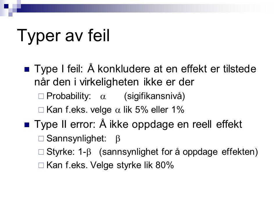 Typer av feil Type I feil: Å konkludere at en effekt er tilstede når den i virkeligheten ikke er der  Probability:  (sigifikansnivå)  Kan f.eks.