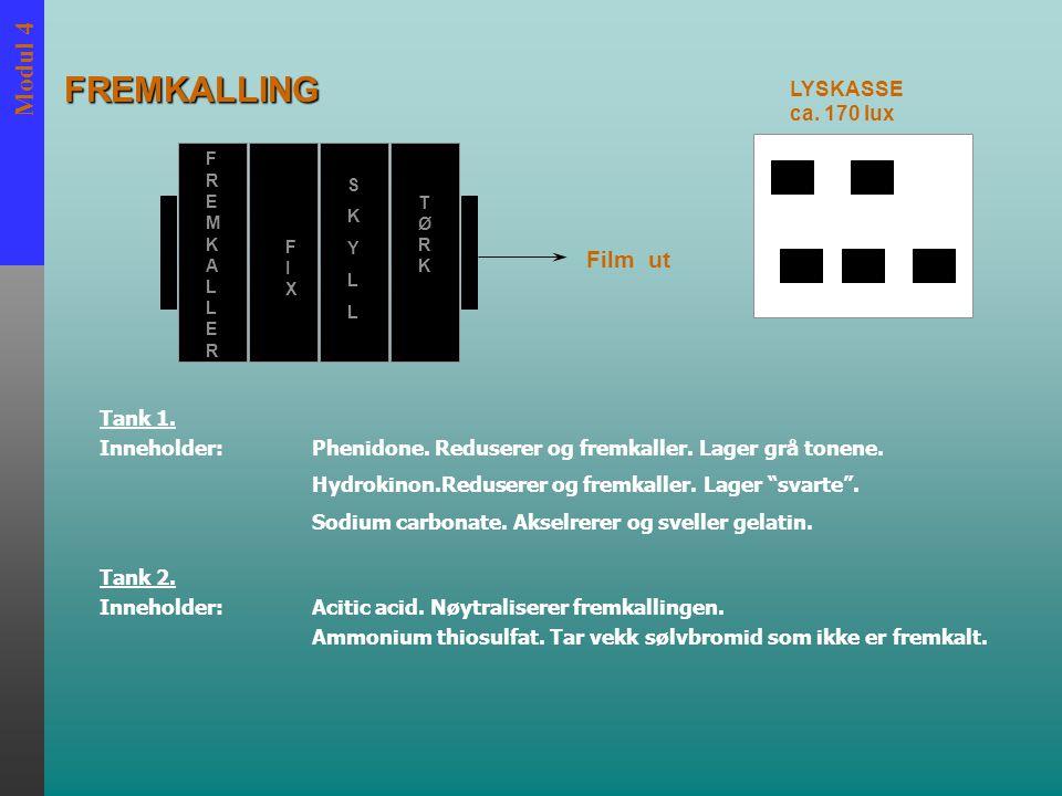 Modul 4 FREMKALLERFREMKALLER FIXFIX SKYLLSKYLL TØRKTØRK Film ut LYSKASSE ca. 170 lux Tank 1. Inneholder:Phenidone. Reduserer og fremkaller. Lager grå