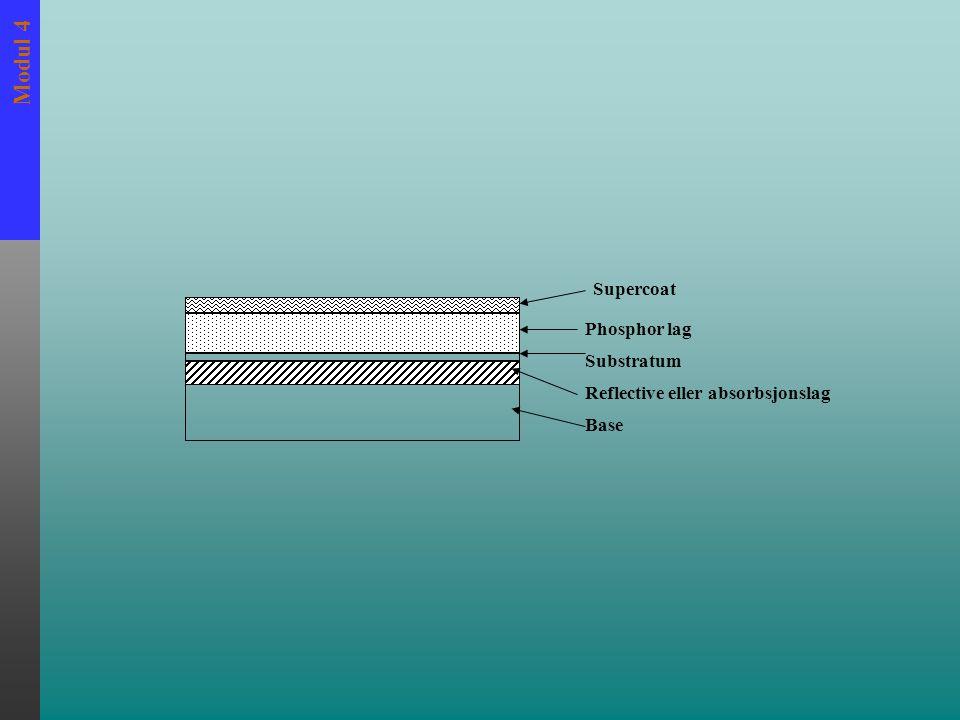 Modul 4 PHOSPHOR Phoshpor er vanligvis et fast metallisk krystall som forekommer naturlig eller som er kunstig laget, som har egenskaper av fluoriserende art når de blir eksponert av rtg.