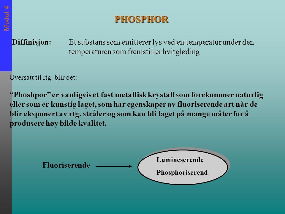 """Modul 4 PHOSPHOR """"Phoshpor"""" er vanligvis et fast metallisk krystall som forekommer naturlig eller som er kunstig laget, som har egenskaper av fluorise"""