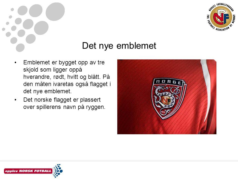 Det nye emblemet Emblemet er bygget opp av tre skjold som ligger oppå hverandre, rødt, hvitt og blått. På den måten ivaretas også flagget i det nye em