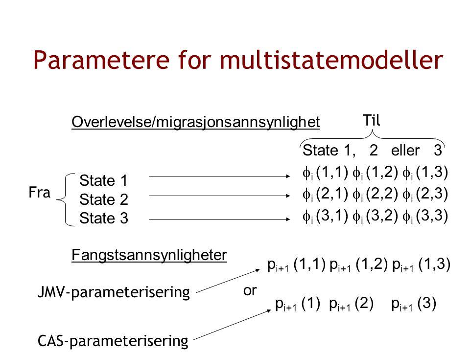 Parametere for multistatemodeller Overlevelse/migrasjonsannsynlighet State 1, 2 eller 3  i (1,1)  i (1,2)  i (1,3)  i (2,1)  i (2,2)  i (2,3)  i (3,1)  i (3,2)  i (3,3) Fangstsannsynligheter State 1 State 2 State 3 p i+1 (1,1) p i+1 (1,2) p i+1 (1,3) p i+1 (1) p i+1 (2) p i+1 (3) or Fra Til JMV-parameterisering CAS-parameterisering