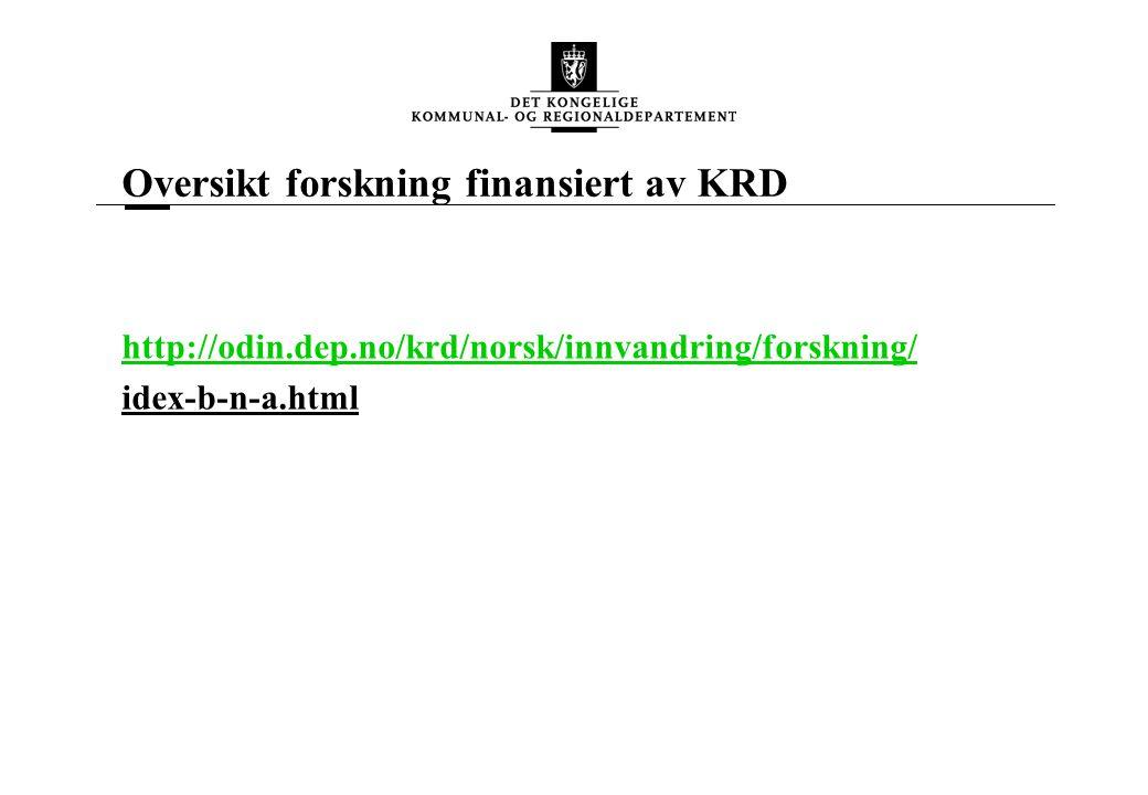 Oversikt forskning finansiert av KRD http://odin.dep.no/krd/norsk/innvandring/forskning/ idex-b-n-a.html
