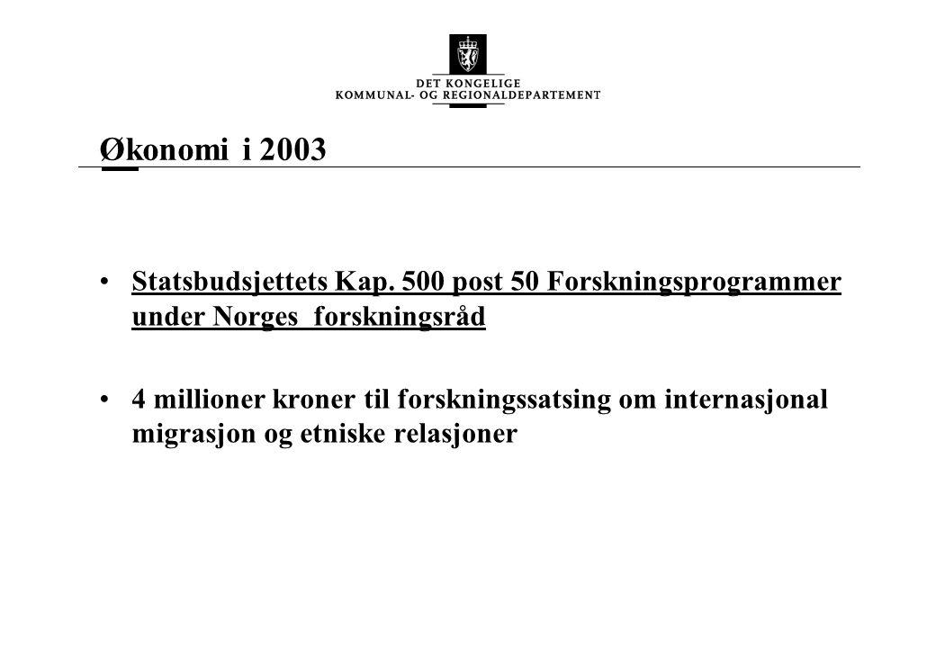 Økonomi i 2003 Statsbudsjettets Kap.