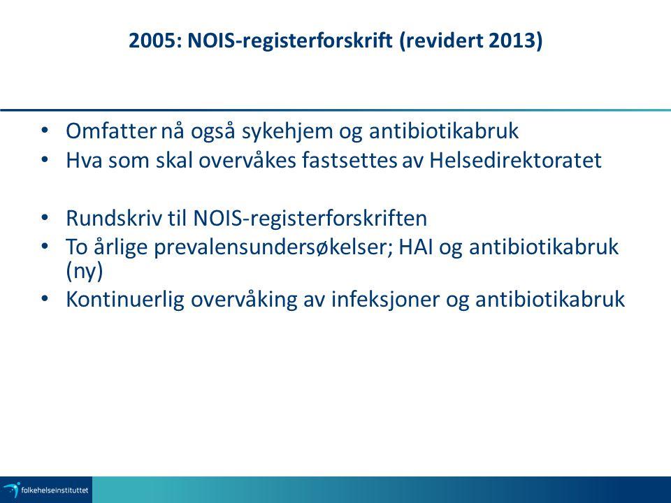 2005: NOIS-registerforskrift (revidert 2013) Omfatter nå også sykehjem og antibiotikabruk Hva som skal overvåkes fastsettes av Helsedirektoratet Runds