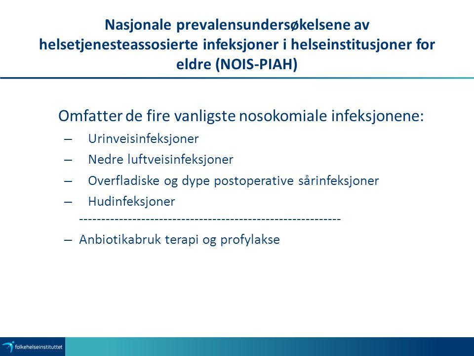 Nasjonale prevalensundersøkelsene av helsetjenesteassosierte infeksjoner i helseinstitusjoner for eldre (NOIS-PIAH) Omfatter de fire vanligste nosokom