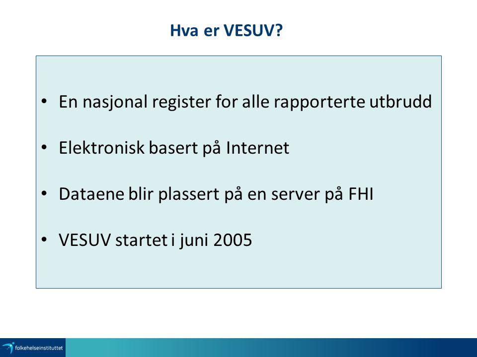 Hva er VESUV? En nasjonal register for alle rapporterte utbrudd Elektronisk basert på Internet Dataene blir plassert på en server på FHI VESUV startet