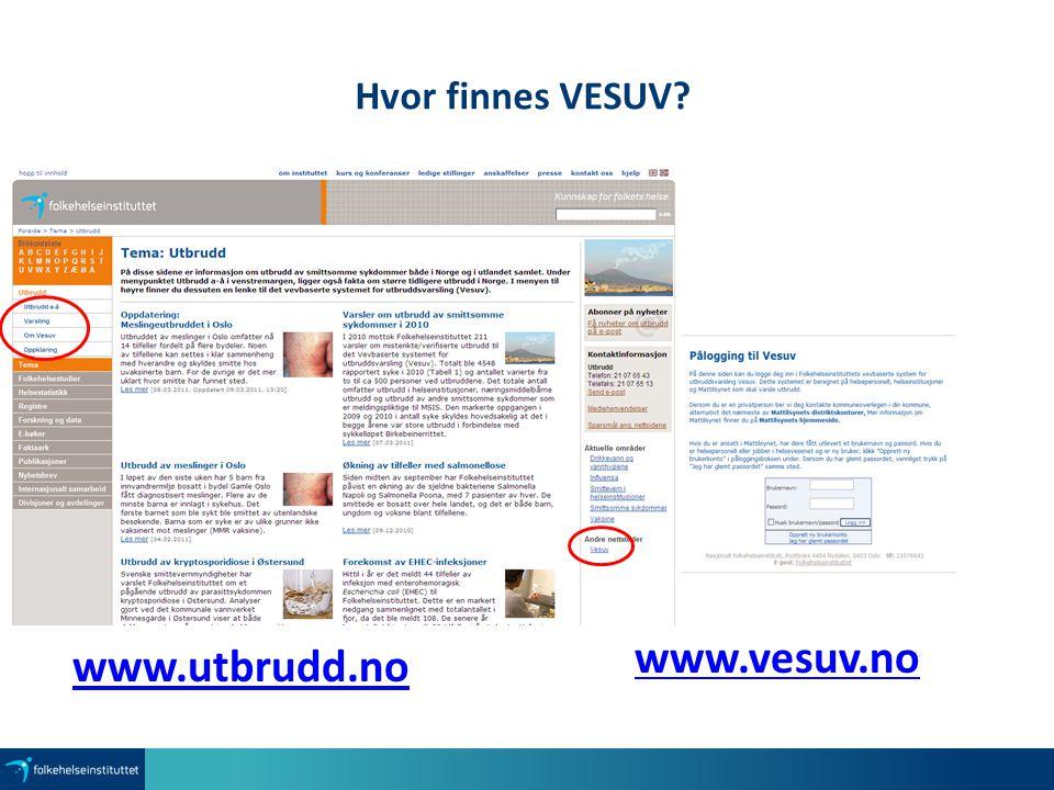 Hvor finnes VESUV? www.vesuv.no www.utbrudd.no