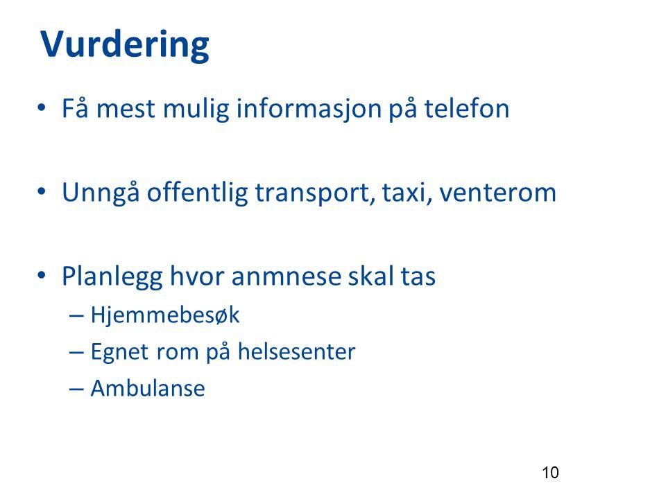 Vurdering Få mest mulig informasjon på telefon Unngå offentlig transport, taxi, venterom Planlegg hvor anmnese skal tas – Hjemmebesøk – Egnet rom på h