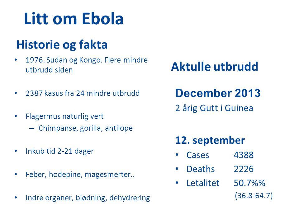 Litt om Ebola Historie og fakta 1976. Sudan og Kongo. Flere mindre utbrudd siden 2387 kasus fra 24 mindre utbrudd Flagermus naturlig vert – Chimpanse,