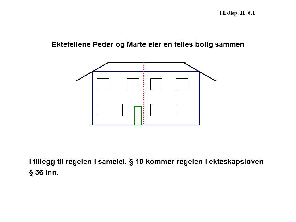 Til disp. II 6.1 Ektefellene Peder og Marte eier en felles bolig sammen I tillegg til regelen i sameiel. § 10 kommer regelen i ekteskapsloven § 36 inn