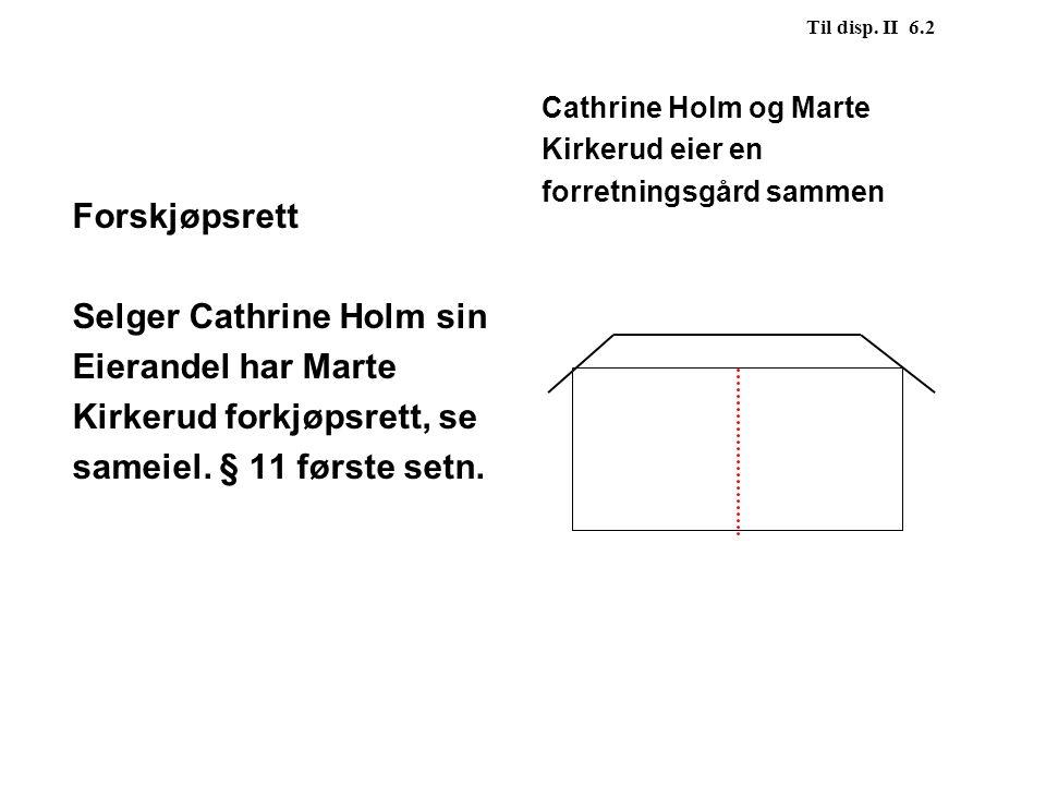 Forskjøpsrett Selger Cathrine Holm sin Eierandel har Marte Kirkerud forkjøpsrett, se sameiel. § 11 første setn. Til disp. II 6.2 Cathrine Holm og Mart